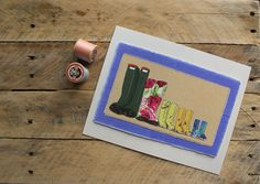 Family of 5 wellies giclee print
