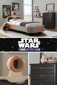 Create your own galaxy!  Let your imagination hover along with the sleekly designed Landspeeder™ twin panel bed. Shop Star Wars beds now at roomstogokids.com.
