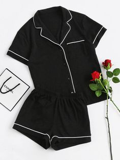 Cheap piece set, Buy Quality two set directly from China set short Suppliers: SHEIN Contrast Piping Pocket Front Pajama Set Black Short Sleeve Lapel Top With Elastic Waist Shorts Womens Two Piece Sets Cute Pjs, Cute Pajamas, Black Pajamas, Cute Pajama Sets, Comfy Pajamas, Onesie Pajamas, Cute Sleepwear, Loungewear, Cotton Sleepwear