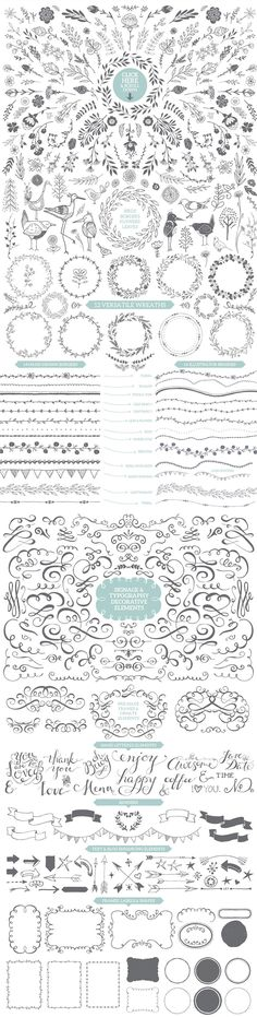 The Designer's Hand Sketched Megapack has everything you need to design pretty posters, cards, wedding invitations and blog graphics. Love this hand drawn look!
