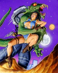 """Dedicated to all things """"geek retro:"""" the science fiction/fantasy/horror fandom of the past including pin up art, novel covers, pulp magazines, and comics. Dark Fantasy Art, Fantasy Art Women, Fantasy Girl, Arte Sci Fi, Sci Fi Art, Art Pulp, Art Science Fiction, Comic Art Girls, Scary Art"""