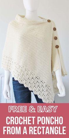 Poncho Knitting Patterns, Crochet Cardigan Pattern, Crochet Shawl, Free Knitting Patterns For Women, Bolero Pattern, Crotchet Patterns, Crochet Coat, Knitted Poncho, Crochet Clothes