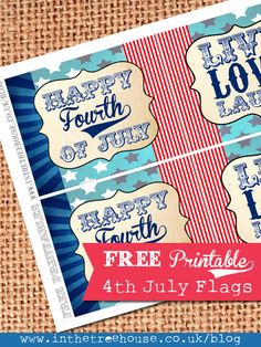July 4th Decoration Free Printables | 4th July Independence Day Free Printable Flags Decorations by In the ...