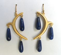 gold over bronze with Lapis drops. Austrian Crystal, Arabesque, Bronze, Baby Shower, Crystals, Chic, Earrings, Gold, Jewelry