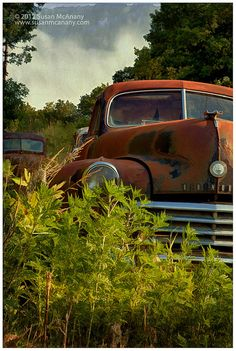 Out to Pasture  Vintage Old Car in Overgrown Field With by McAnany