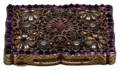 Engraved silver evening bag set with rubies, sapphires, amethysts & emeralds, Italy, 1930s