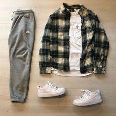 Street Style Outfits Men, Cool Outfits For Men, Black Men Street Fashion, Korean Fashion Men, Stylish Mens Outfits, Casual Outfits, Fashion Outfits, Mode Man, Flannel Outfits