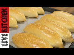 ΑΦΡΑΤΑ ΨΩΜΑΚΙΑ - Επαγγελματικά ψωμάκια για όλες τις χρήσεις! How to Make Sandwich Rolls Live kitchen - YouTube Hot Dog Buns, Hot Dogs, Kitchen Living, Food And Drink, Cooking, Recipes, Breads, Flat, Youtube