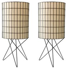 Wire and parchment table lamps by Paul Mayen, USA, 1950s.