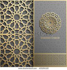 3d Ramadan Kareem greeting card,invitation islamic style.Arabic circle golden pattern.Gold ornament on black,islamic brochure