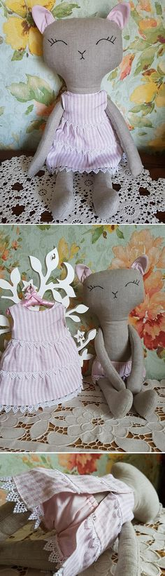 $48.00 Handmade Christmas gift. Cat doll. Stuffed cat toy. Fabric cat doll. Cloth kitten linen doll. Textile toy.