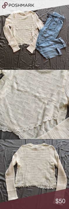 crocheted hem pullover /SALE! $50 Worn only once. Great Condition. Minimal sign of normal wear/wash. Size M, slightly runs small/fitted. Length is only short but not cropped if you're only 5 ft. tall or shorter. Not Modeling. No Hold. No Trade. Price is Firm. Free People Tops