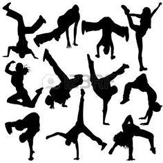 silhouette pause danse - fille danse  Banque d'images
