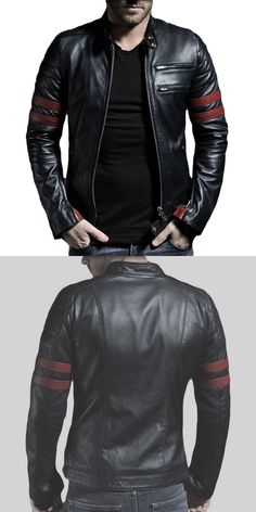 Men Coats And Jackets: New Mens Genuine Lambskin Leather Jacket Black Slim Fit Biker Motorcycle Jacket BUY IT NOW ONLY: $74.99