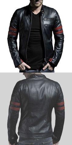 Men Coats And Jackets: New Mens Genuine Lambskin Leather Jacket Black Slim Fit Biker Motorcycle Jacket BUY IT NOW ONLY: $74.99