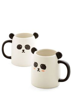 Wake Up Panda Smell the Coffee Mug Set. Rise and shine with a cup of cuteness, thanks to this delightful duo. #multi #modcloth