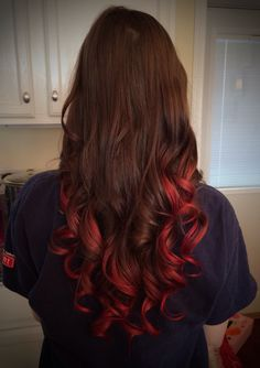 Freshly dyed Kool Aid hair! Soaked hair in mixture of 1cup boiling water and 4 packets of cherry Kool aid. 40 min and some rinsing/blow drying/curls later...voila!