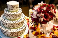 elaborate piping on the cake, beautiful bouquet