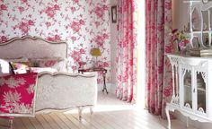 Pretty and feminine  Toile de jouy wallpaper is always ultimately beautiful for bedrooms. For a quintessential French style, wallpaper your room and add intricate antique style furniture for a luxurious looking bedroom. Elodie wallpaper from the Amelie collection from Harlequin.