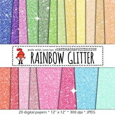 Glitter digital paper RAINBOW GLITTER with by SandraGraphicDesign