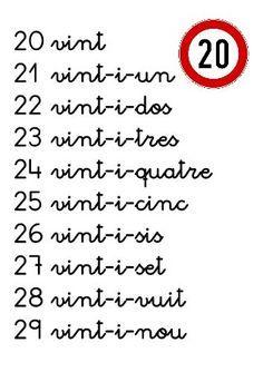 Numeració en català de l'1 al 100 DIN A4