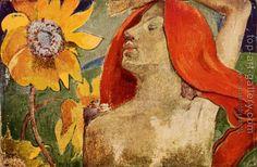 Paul Gauguin : Readheaded Woman and Sunflowers