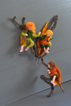 Needle Felted Doll Waldorf Leaf children-Wool Dolls -Autumn-and Sibylle von Olfers inspired --needle felt by Daria Lvovsky--Made to order