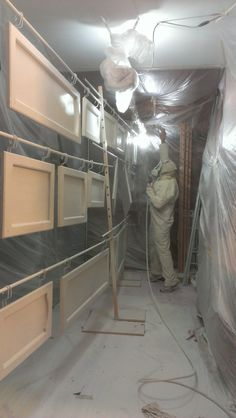 My husband spray-painted our cabinet doors while they were ...