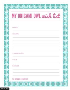 Origami Owl Wish List. | Origami Owl Independent Designer | Veronica Burke | Mentor ID: 51231 | http://veronicab.origamiowl.com