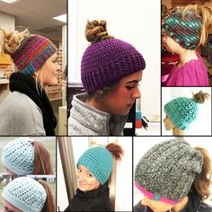 Crochet ponytail hat-there's a link to the viral paid pattern and a free pattern.