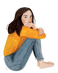 Maggie Cole illustration of a girl in yellow sweater and jeans outfit Art And Illustration, Illustrations, Character Illustration, Illustration Fashion, Cartoon Kunst, Cartoon Art, Character Art, Character Design, Arte Sketchbook