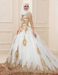 Newest Three Quarters Sleeves Gold Muslim Wedding Dress 2016 Arabic Sheer Bridal  Gowns vesitdo de noiva robe de mariage dubai(China (Mainland)) edbb1ba4abca
