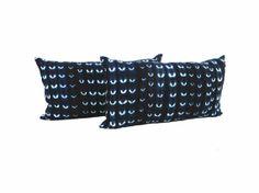 Vintage Indigo Pillow Pair - Stripwoven Cotton - 12 x 22