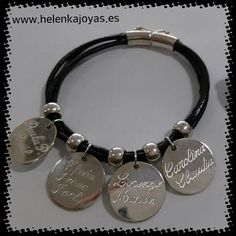 Pulsera de cuero con chapas redondas y nombres grabados\\n\\n24/01/2017 13:45 Alex And Ani Charms, Bracelets, Jewelry, Free Quotes, Personalized Jewelry, Fascinators, Names, Silver, Charm Bracelets