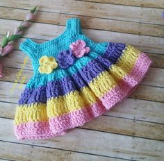 Crochet Baby Dress Pattern, Easter Crochet Patterns, Baby Dress Patterns, Crochet Dresses, Crochet Yarn, Free Crochet, Baby Dress Design, Frocks For Girls, Baby Outfits Newborn