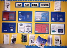 New book cover design Iron Man Book, Year 6, Book Cover Design, Robots, Metals, New Books, School Ideas, Literacy, Ted