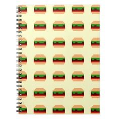 8-Bit Burger Pixel Art Design Spiral Note Books
