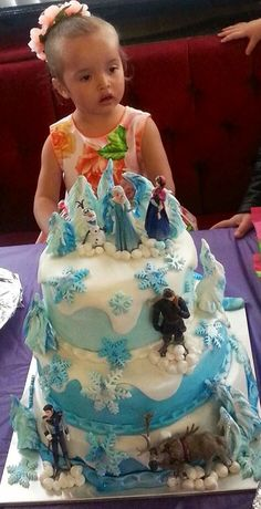 Frozen 3 tier cake - well received by a Birthday Princess