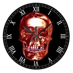 Red Chrome Skull Round Roman Numerals Clock  Halloween decoration for the home.   http://www.zazzle.com/red_chrome_skull_round_roman_numerals_clock-256735653711188892?rf=238271513374472230  #halloween  #halloweendecoration