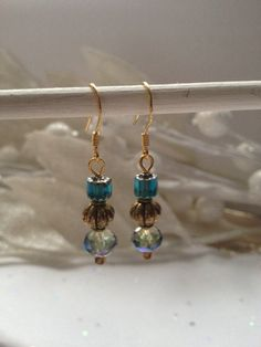 Gold and blue Earrings by FabyoulousJewelry on Etsy