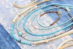 Natural Arizona Turquoise and Sandalwood Bracelet, Minimalist Bracelet, Pale Robins Egg Blue, Organic, Petite, Stackable, Beach Chic, Boho by HappyGoLuckyJewels on Etsy