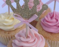 Pink and Gold Glitter Crown Cupcake Toppers, Gold Birthday Cake Toppers, Princess Cake Toppers, Party Cupcake Toppers Gold Birthday Cake, Baby First Birthday, Birthday Cupcakes, First Birthday Parties, Girl Birthday, First Birthdays, Crown Cupcake Toppers, Crown Cupcakes, Girl Cupcakes