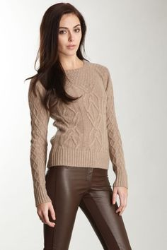 Minnie Rose Cashmere Multi-Stitch Cable Crew Sweater in Oat taupe