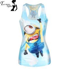 f213acdbb9451 V143 Women Tank Despicable Me Print Minions Women t-shirt Stuart Fashion  Blue Camisole Female