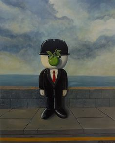 'Son of Fred' was the 2nd painting in the Fred series. Its a stormy day just as we see in Magritte's 'Son of Man'.
