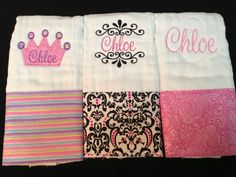 Personalized Girl Burp Cloth set of 3 by StitchesbyStephie on Etsy