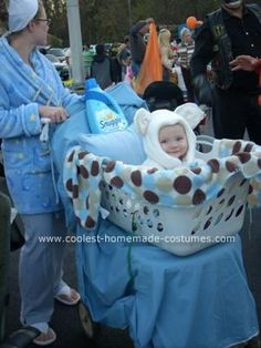 Homemade Snuggle Bear in Laundry Basket Baby Costume