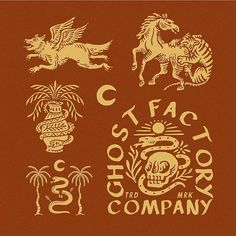 Ghost Factory by forget to share your work with or tag us Graph Design, Badge Design, Bandana Design, Vintage Graphic Design, Best Logo Design, Logo Design Inspiration, Business Card Design, Logos, Decoration Design