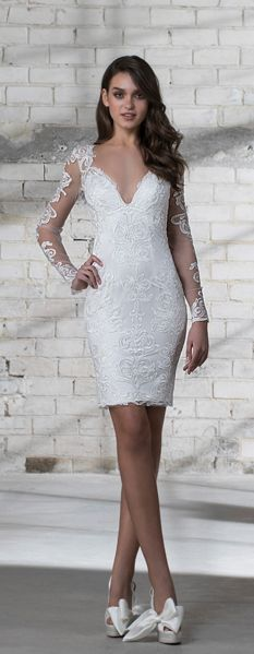 Long sleeve illusion lace short wedding dress with v-neckline, perfect for your ceremony or reception!   LOVE by Pnina Tornai   Style: 14677 #shortweddingdresses