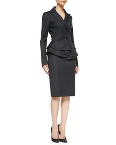 Long-Sleeve Ruffle Peplum Jacket & Straight Pencil Skirt by Oscar de la Renta at Neiman Marcus.